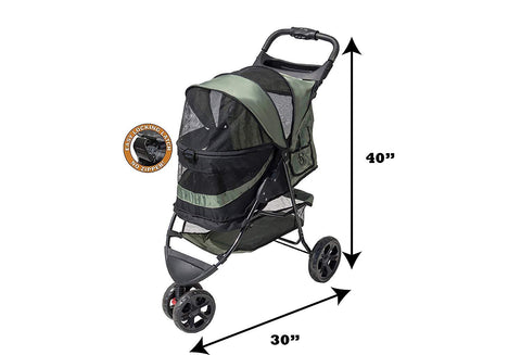 Pet Gear NO-ZIP Special Edition Single Pet /Multiple Pet 3 Wheel Pet Stroller