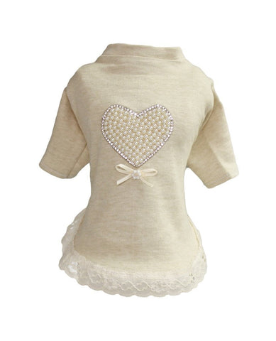 Elegant Pearl Heart, Lace & Ultra Soft Cotton Dog Dress