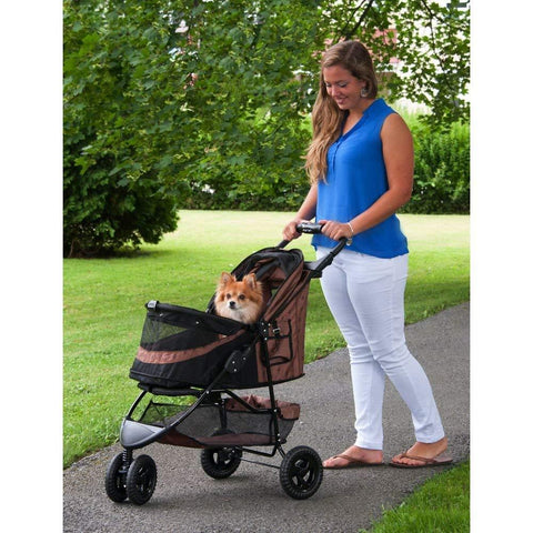 Pet Gear 3 Wheel Pet Stroller- Chocolate- No-Zip Special Edition