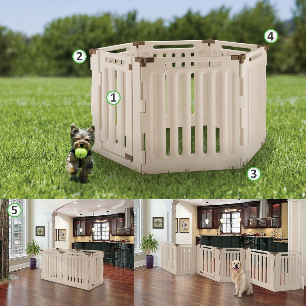 Plastic Dog Pen & Convertible Pet Gate For Outdoor/Indoor Use By Richell