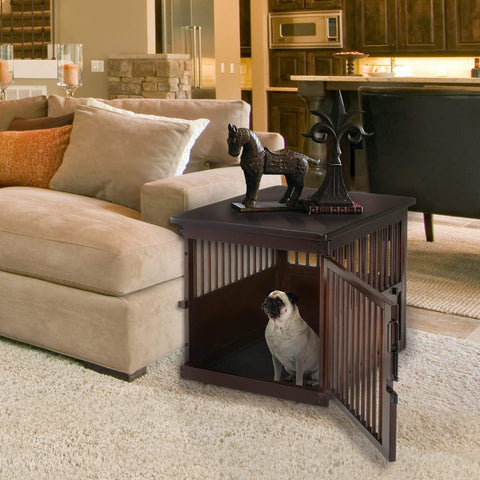 Medium Wooden End Table Dog Crate, Dark Brown,  Richell Dog Crate Kennel 94916