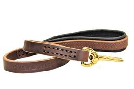 Leather Leash Available in 2ft-6ft Length Color Brown with Black Pad