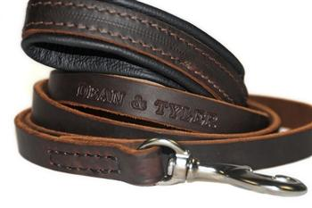 Leather Leash Available in 2ft-6ft Length Black with Brown Pad
