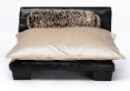 Image of Club Nine Pets Soho Roma Brown Faux Leather with Oyster Velvet Cushion