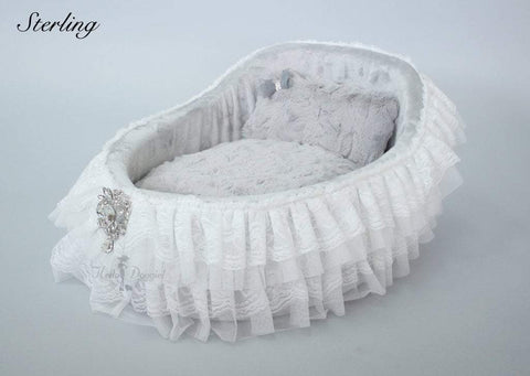 Elegant Lace & Satin Dog Bed Crib With Crystal Brooch