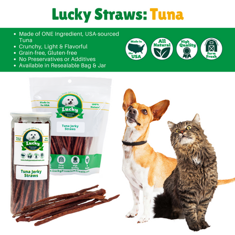Image of 100% Natural Tuna Jerky Straws For Dogs and Cats Treats -8 oz. Tall Jar