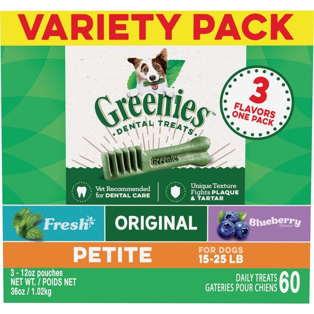 Greenies Original Dental Chews Petite Bones-36 oz. Variety Pack-60 Treats