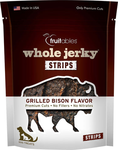 Fruitables 100% All Natural Whole Jerky Grilled Bison Strips Dog Treats - 5 oz. Resealable Pouch - 8 Per Case