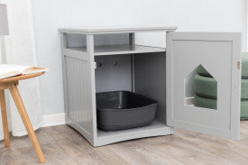 Trixie Pet Standard Wood Litter Box Enclosure with Top Shelf, Gray