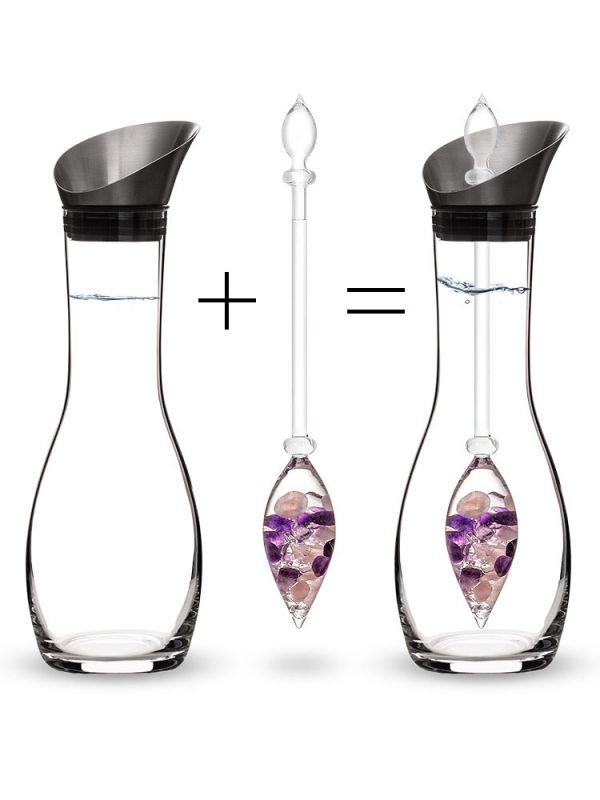 Vitajuwel Wellness Stainless Steel & Glass GemWater Pitcher Decanter Set