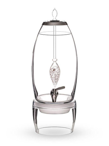 Image of Stainless Steel Glass Diamonds GemWater Dispenser Fountain Decanter With Ayurvedic Healing Gem Vial,Faucet, Stainless Steel Lid & Glass Stand