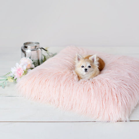 Image of Chic Himalayan Peach Faux Yak Fur Dog Bed Mat