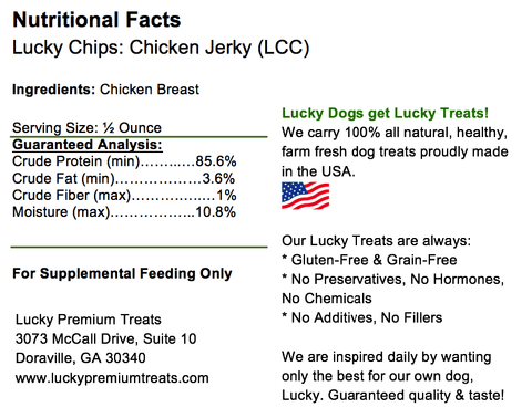 100% All Natural Premium Chicken Jerky Lucky Chips- 6oz. Tall Jar