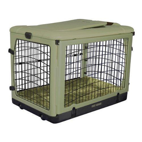 "Large 42"" Steel Pet Crate with Bolster Pad By Pet Gear"