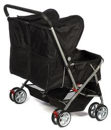 Paws & Pals Black Double Pet Stroller