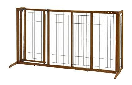 Image of Deluxe Freestanding Dog Pen And Gate By Richell- Wood Finish- 94189