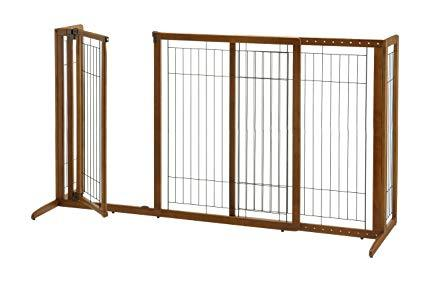 Deluxe Freestanding Dog Pen And Gate By Richell- Wood Finish- 94189