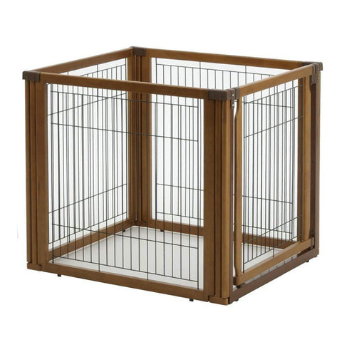 Image of 3-In-1 Convertible Elite Pet Gate By Richell - 4 or 6 Panel- Wooden Finish- 94170