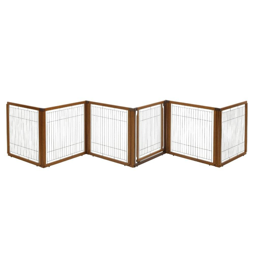 3-In-1 Convertible Elite Pet Gate By Richell - 4 or 6 Panel- Wooden Finish