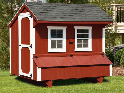 Quaker Style 4' x 8' Amish Crafted Chicken Coop
