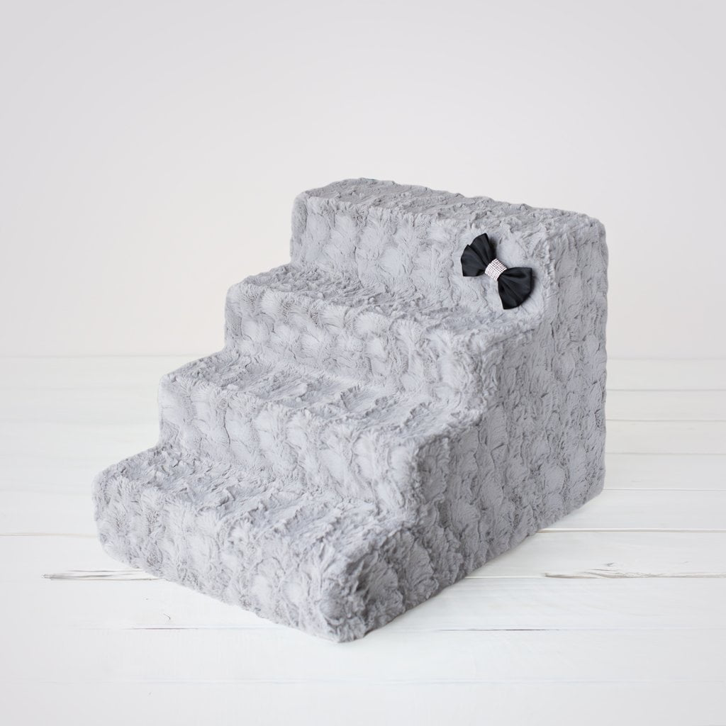 Luxury Faux Fur 4 Steps Pet Stairs By Hello Doggie