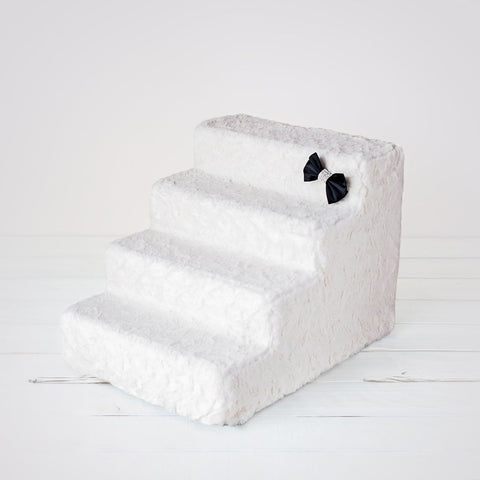 Image of Luxury Faux Fur 4 Steps Pet Stairs By Hello Doggie