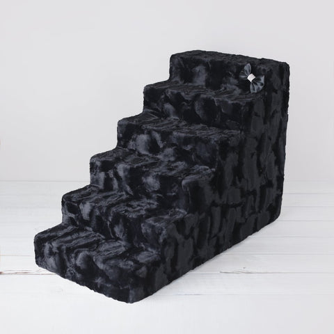 Image of Luxury Faux Fur 6 Steps Pet Stairs By Hello Doggie
