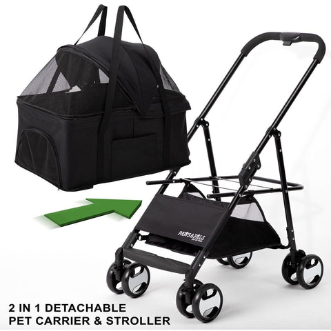 Paws and Pals 2-IN-1 Pet Stroller- Black