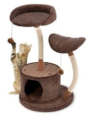 Penn Plax Cat Furniture-Dual Level Cat Lounge Center And Hideaway Retreat