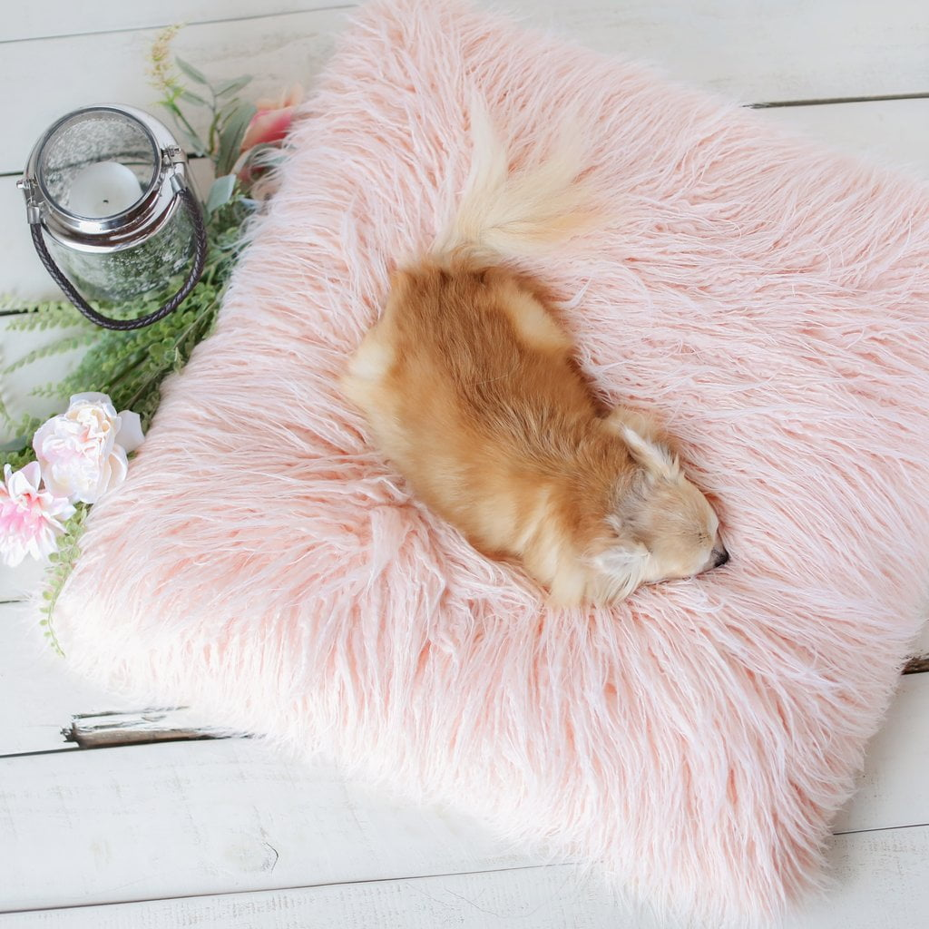 Chic Himalayan Peach Faux Yak Fur Dog Bed Mat