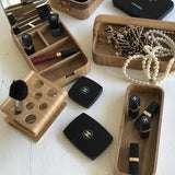 Series of wooden willow boxes for organizing make-up or jewelry
