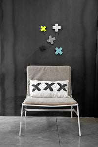 wall idea with x cross hooks in different colors