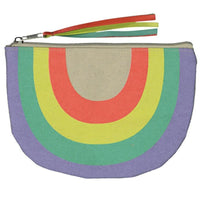 small canvas (pencil) case with rainbow shape and orange, yellow, green and violet colors