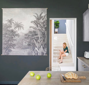 Kitchen with dark accent wall and cotton xxl jungle wallchart by hk living usa