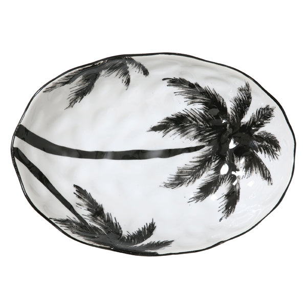porcelein serving plate with black palm jungle print