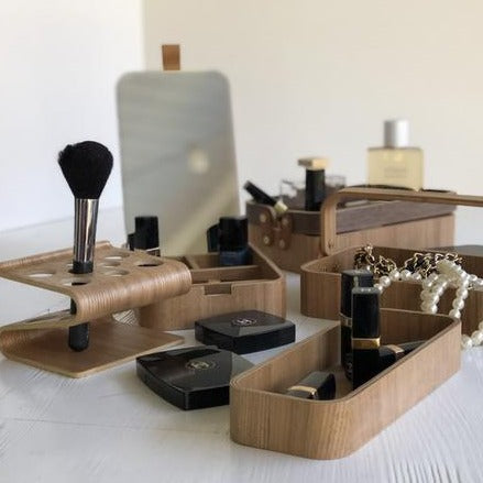 set of vanity accessories made out of willow wood