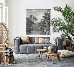 Living room with grey canvas couch and xxl jungle wall chart mural by hk living USA