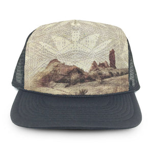Heidi Michele Design trucker hat with Holli Zollinger fabrick desert mauve print