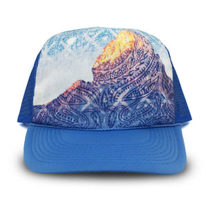 Heidi Michele Design desrt moon trucker hat with blue cap fabric design by Holli Zollinger