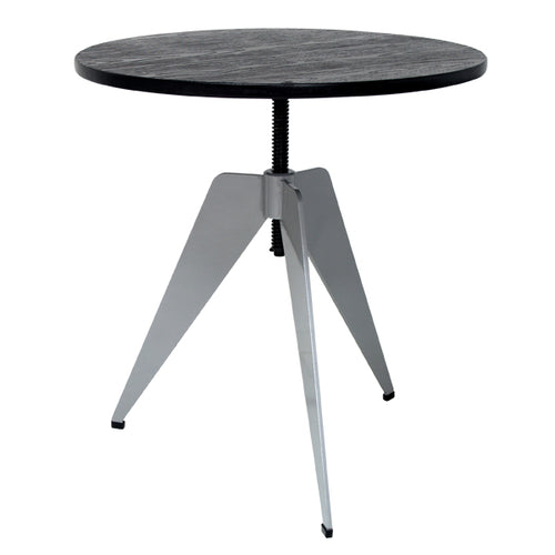 industrial side table with black top adjustable height