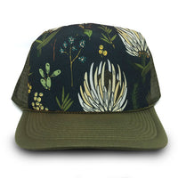 green truckers hat by HMD with Holli Zollinger fabric design