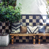hkliving usa rattan bench with throw pillows in bohemian style