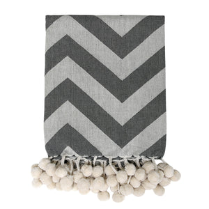 grey throw blanket with chevron stripes and pompoms