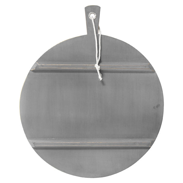 big wooden cheeseboard with grey bottem and iron ring for hanging