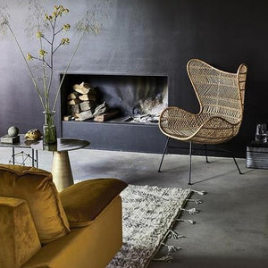 interior with hk living egg chair natural bohemian braid and ochre retro sofa