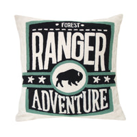 forest ranger throw pillow black white and green