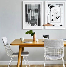 Nordic style dining room with white metal wire dining chairs with comfort kit in grey