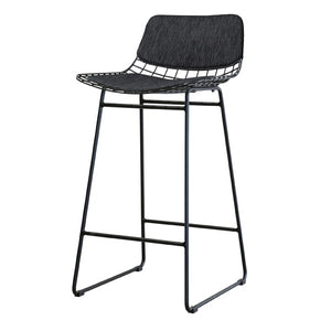 Black metal wire bar stool with charcoal comfort kit