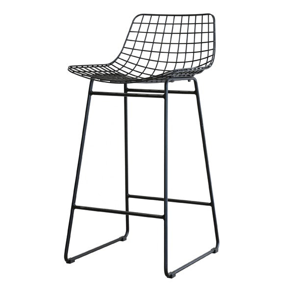 Black metal wire bar stool