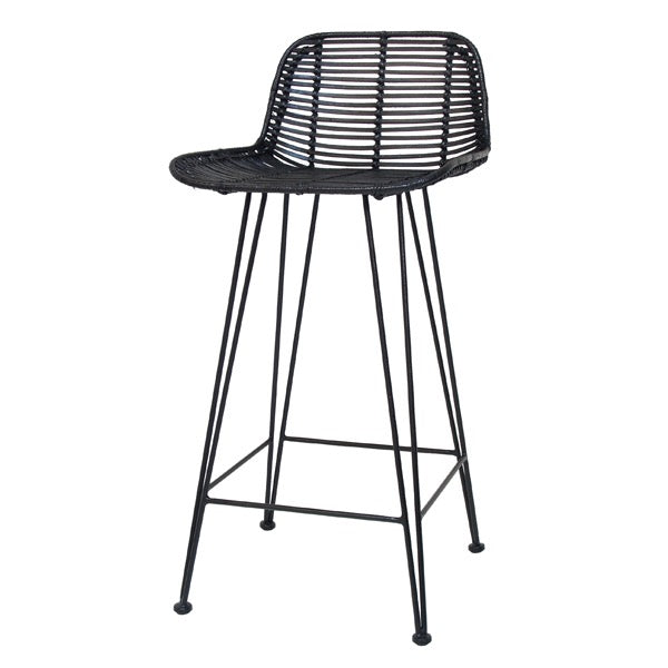 Black painted natural rattan bar stool
